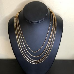 Kenneth Cole Brushed Gold Multi-Strand Necklace